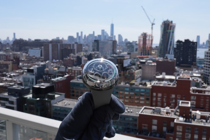 HYT H1.0 viewing the Manhattan skyline on a gorgeous spring day