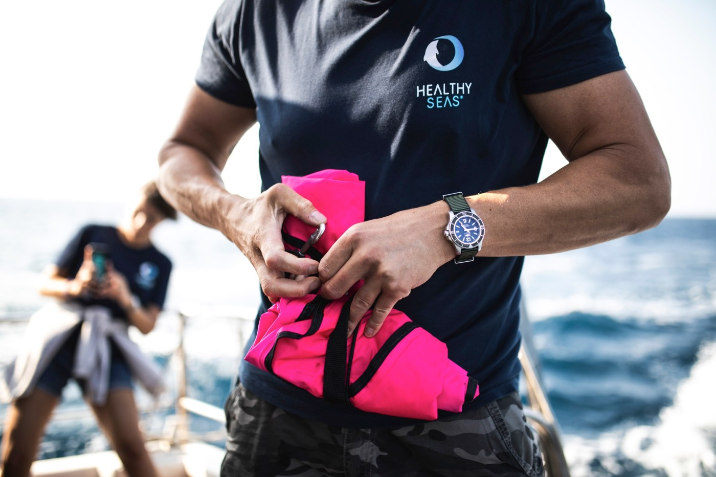 Healthy Seas Diver Preparing for a mission with his Superocean Outerknown