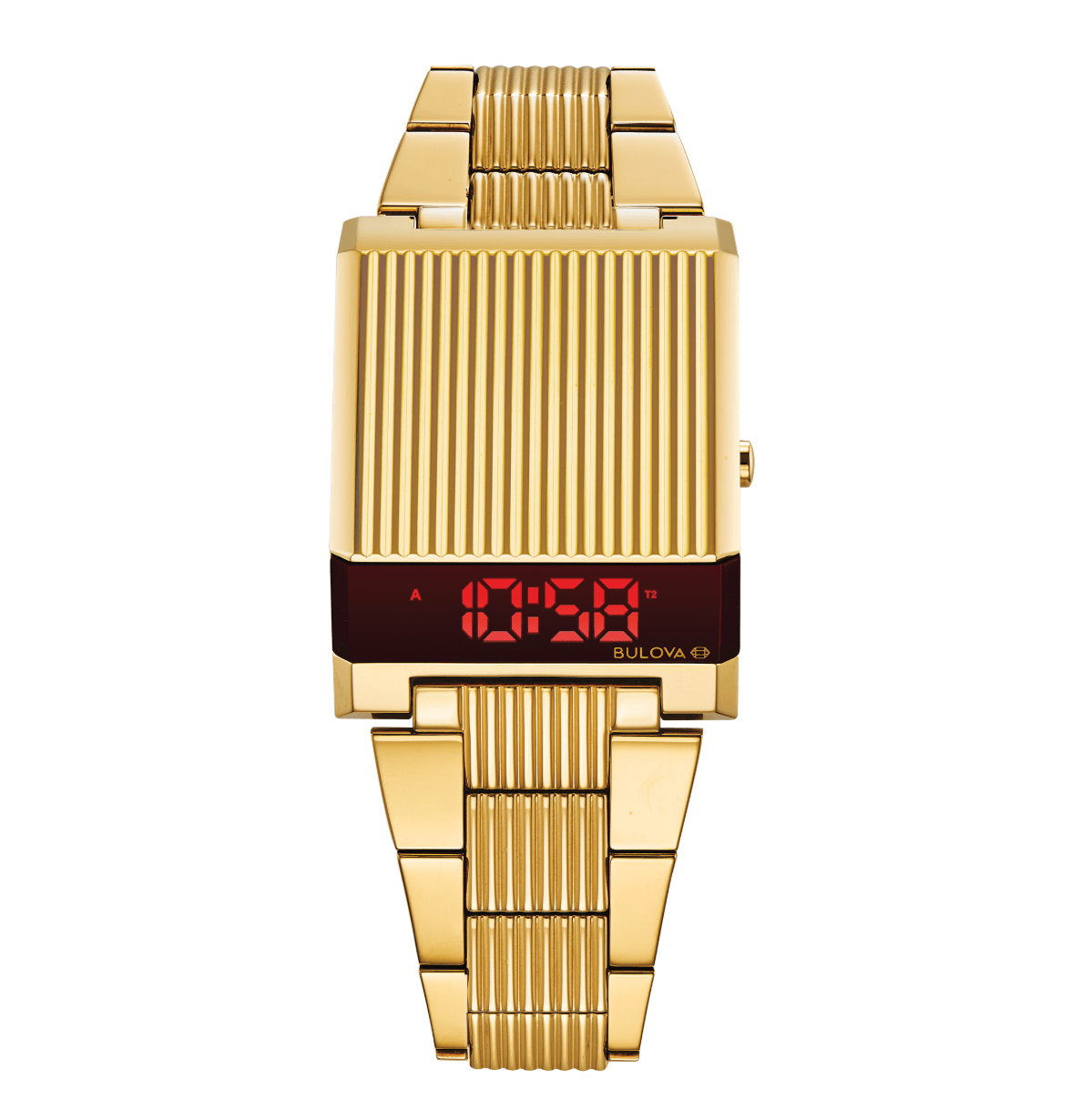 2019 Bulova Computron LED gold-tone throwback