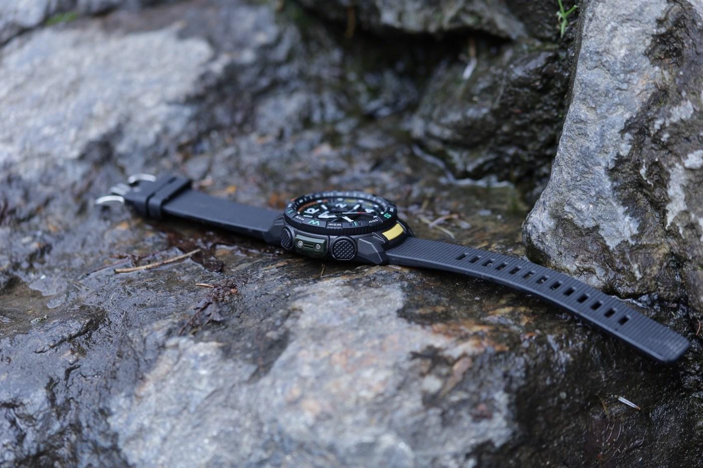 Casio Pro Trek PRT-B50 sitting flat on rock