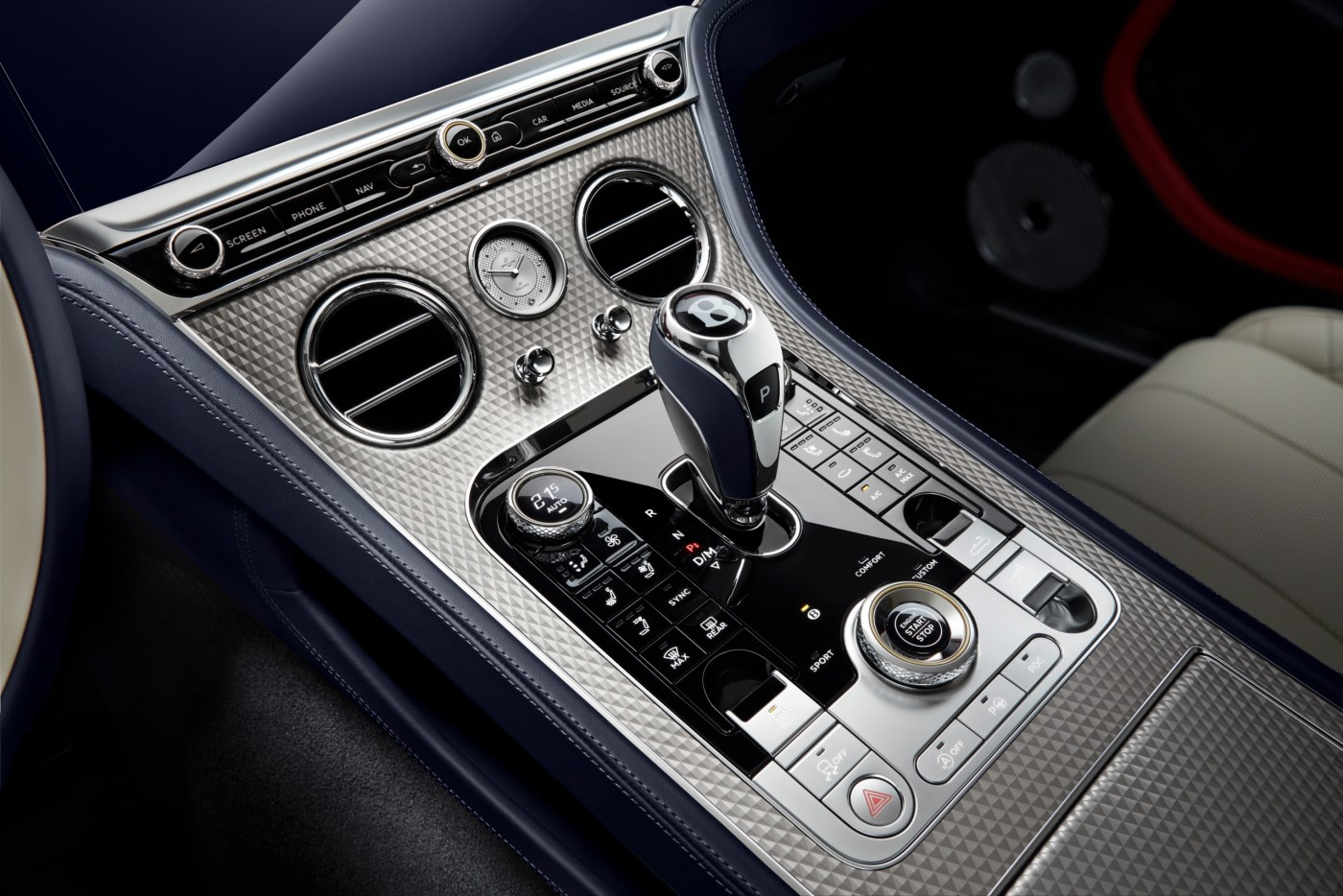 2020 Bentley Continental GT Mulliner Convertible shifter console and Breitling clock