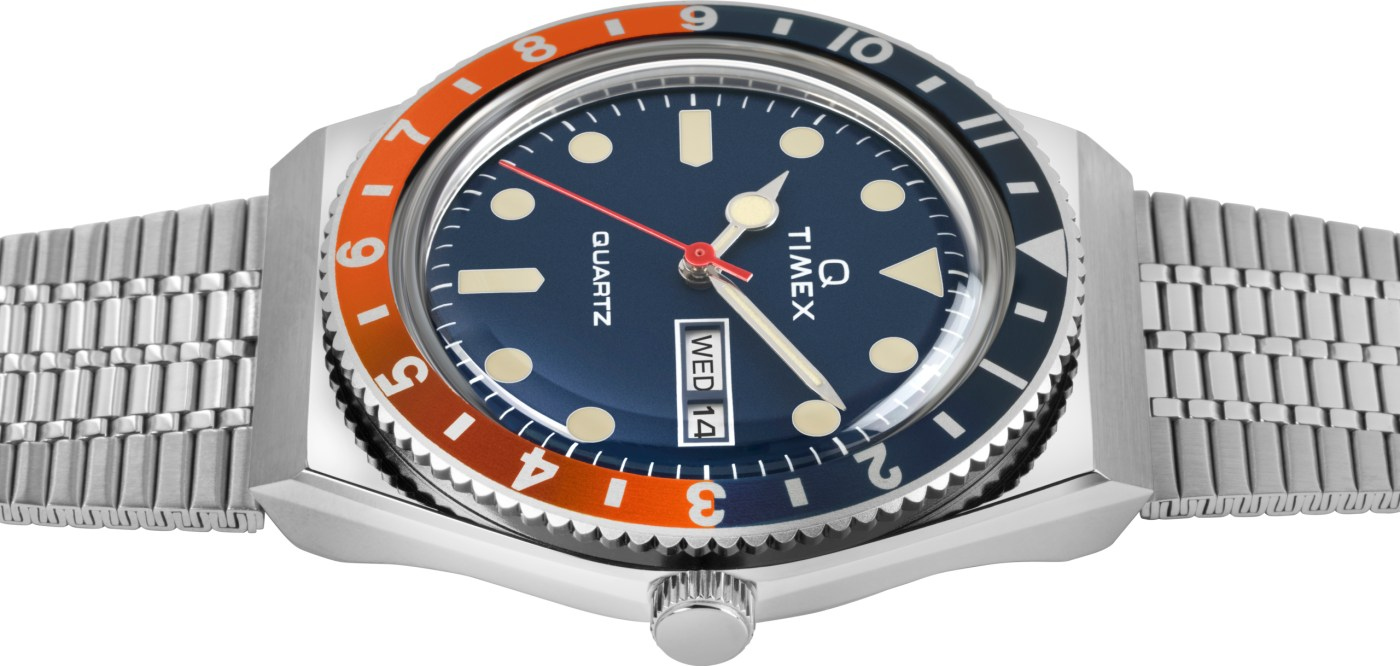 Q Timex Reissue 2020 Navy and Orange side view