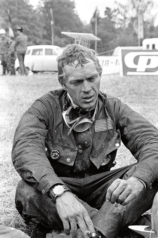 Steve McQueen wearing Hanhart 417 ES.