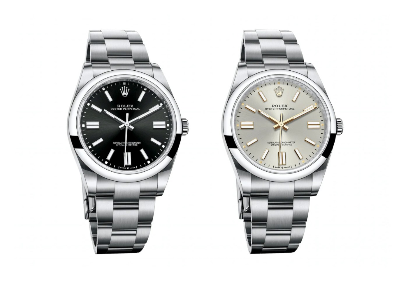 2020 Rolex Oyster Perpetual 41 black and silver side by side
