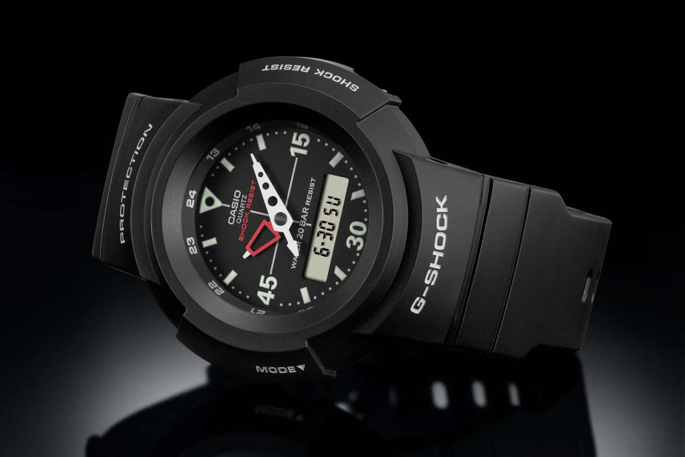 Casio G-Shock AW-500E-1E laying on side