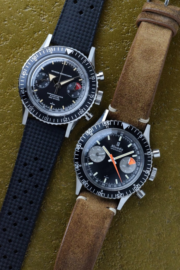 Nivada-Grenchen-Chronomaster-Aviator-Sea-Diver-vintage-and-modern-side-by-side