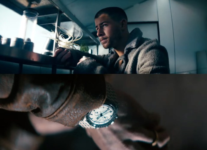 Nick Jonas wearing Omega Speedmaster Moonwatch Canopus Gold in Spaceman