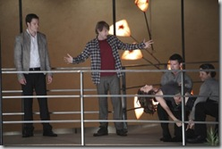 "DOLLHOUSE:  Topher (Fran Kranz, second from L) and Paul (Tahmoh Penikett, L) help Echo (Eliza Dushku, R) in the ""Instinct"" episode of DOLLHOUSE airing Friday, Oct. 2 (9:00-10:00 PM ET/PT) on FOX. ©2009 Fox Broadcasting Co. Cr: Isabella Vosmikova/FOX"
