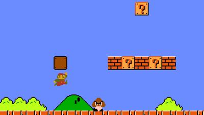 The first encounter in Super Mario Bros.' iconic 1-1 level.