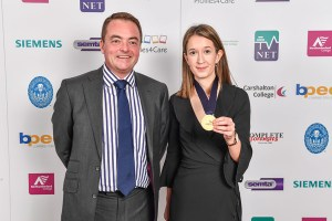 Photograph of WorldSkills 2017 Profiles4Care Managing Director Marc Jones and Gold Medal Winner Harriet McDonald