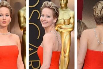 Jennifer Lawrence vsadila na netradičně nastylovaný náhrdelník – nezdobí jí tradičně dekolt, ale záda.