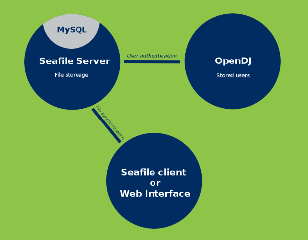 Seafile and OpenDJ diagram