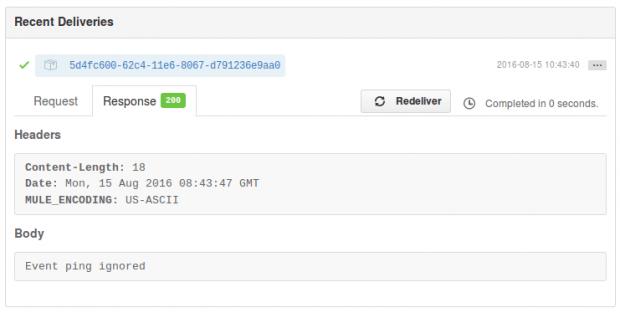 GitHub, working webhook