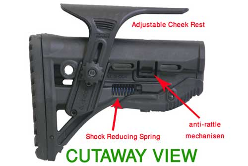 Shock Absorbing Collapsible Butt Stock for M16/AR15  w/ Adjustable Cheek Piece