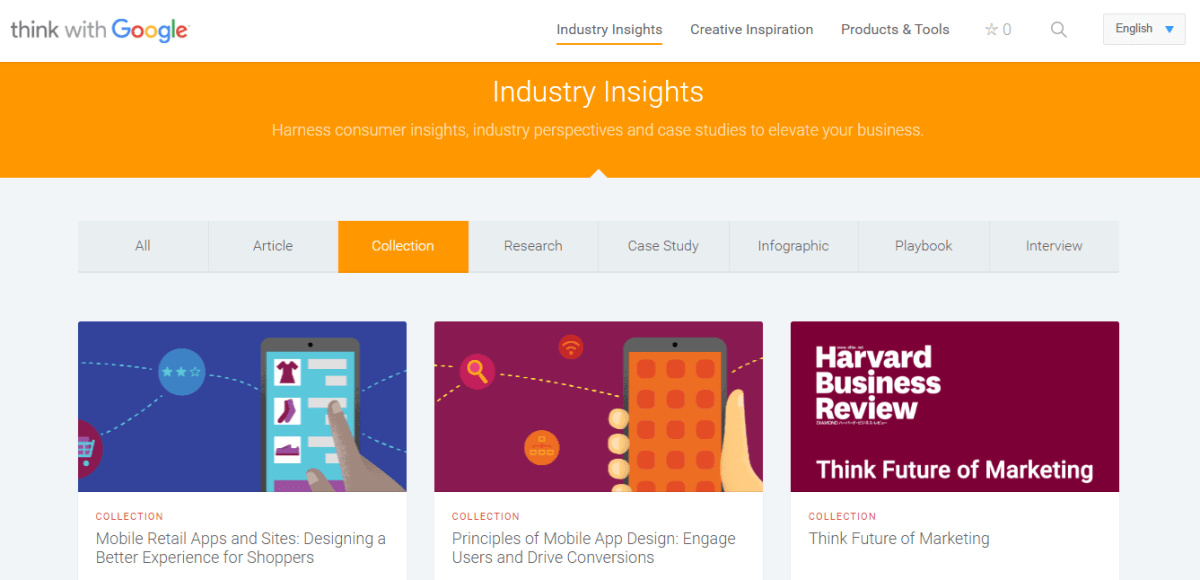 Think With Google Resource Page - Industry Insights
