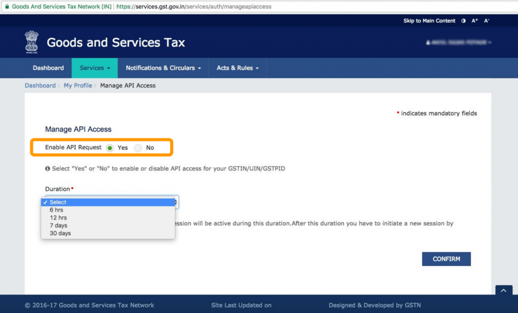 Enable GSTN API Access For Return Filing