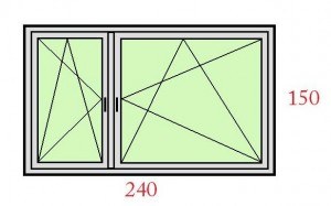 240x150 kétszárnyú tokosztós ablak