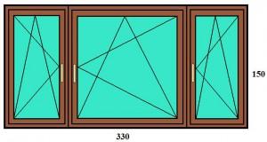 330x150 háromszárnyú panellakás ablak