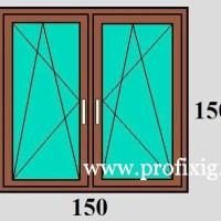 150×150 bukó-nyíló kétszárnyú műanyag ablak