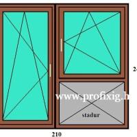 210x240 erkélyszerkezet bukó-nyíló ablakkal