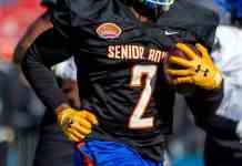 Lamical Perine runs through the 2020 Senior Bowl