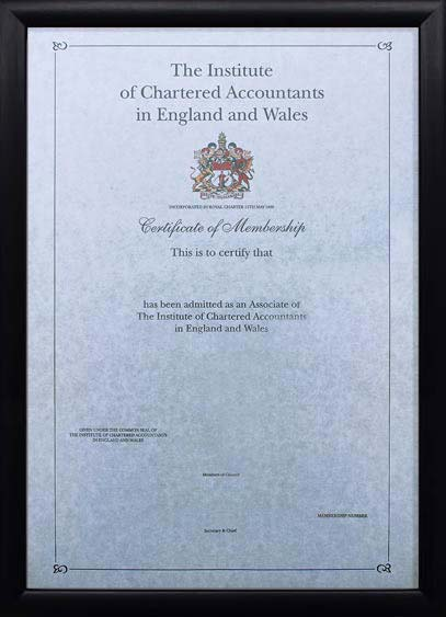 The Professional Framing Company Frames For The Institute Of Chartered Accountants In England