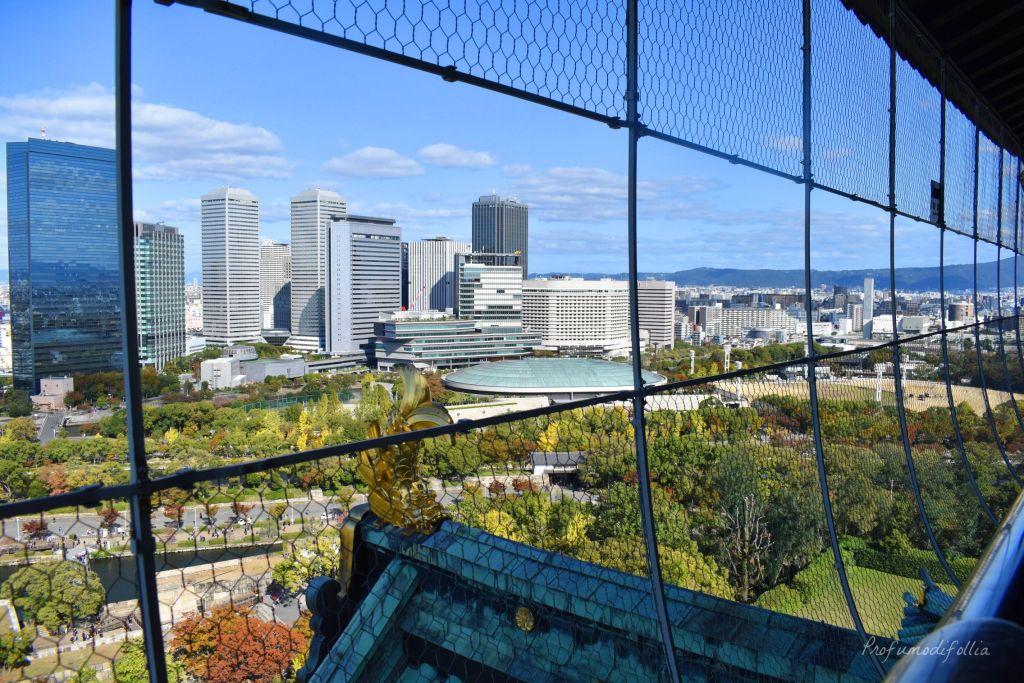 Vista sul parco e su parte della città dal terrazzo del Castello di Osaka [Una settimana in Giappone: Osaka]
