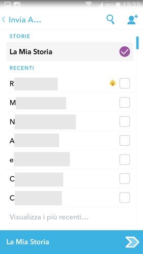 Snapchat: invio degli snap