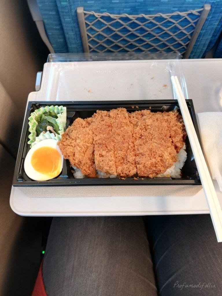 Visita ad Arashiyama: il bento sullo shinkansen con pollo, riso in bianco e uovo sodo