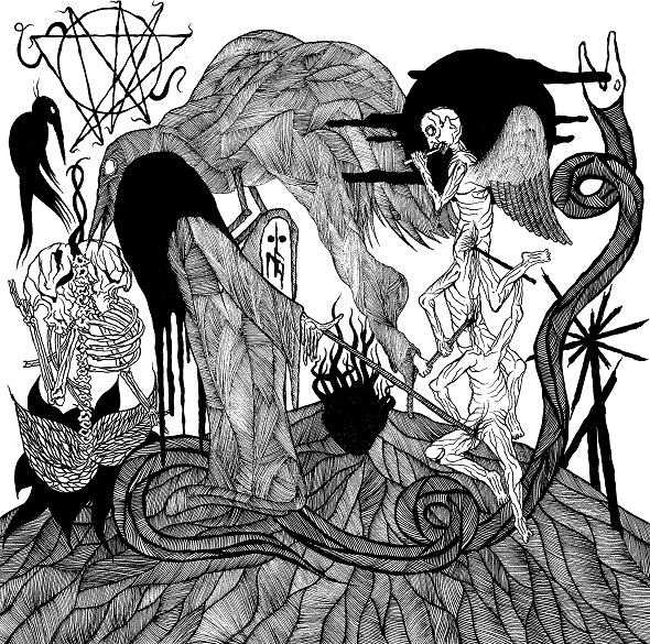 The mesmerizing album artwork featured above for widowmaker the new album by uk extreme metal band dragged into sunlight was completed by norwegian