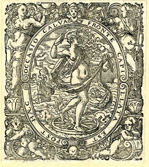 Fortune, printer's mark of Nicolaus Basse; nude female figure turned to right standing on a wheel, her feet winged, holding a piece of cloth in her left hand and a knife in the right. Boats sailing and a sunset in the background. Set in an ornamental border with female personifications of Justice and Religion (?) and two putti in the lower corners. From Wilhelm Sarcerius, 'Geistlicher Herbarius', Frankfurt: Basse & Feyerabend, 1573. Woodcut