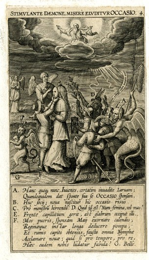 Plate 4. Allegorical scene with several young men holding the attributes of personification of Time (scythe, sand-glass etc.) at right, looking at a boy placing a mask on the back of the head of personification of Opportunity (with hair covering her face) at left, a demonic creature at left playing bagpipes, a demonic creature at right holding a fishing net and a fishing rod, two angels