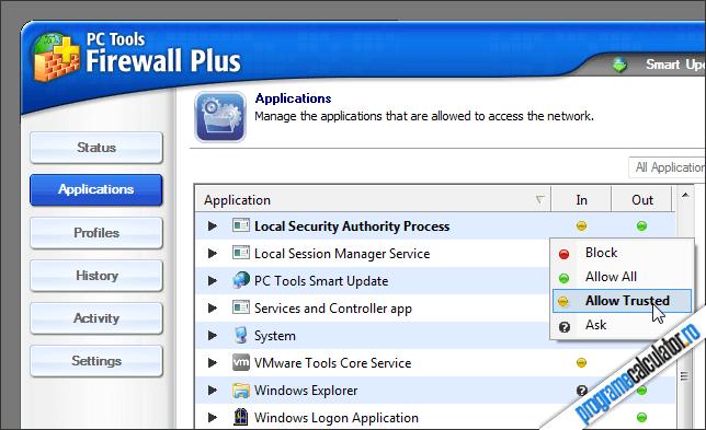 PC Tools Firewall Plus - Aplicații