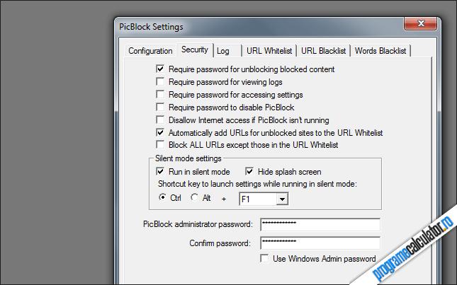 Panoul de configurare PicBlock