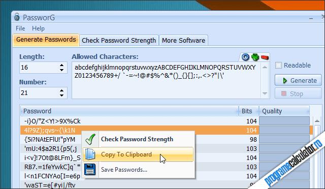 Program de generat parole sigure: PassworG