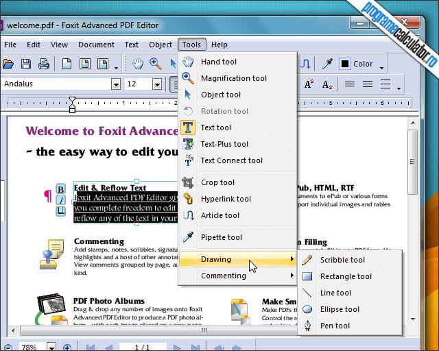 optiuni de editare PDF