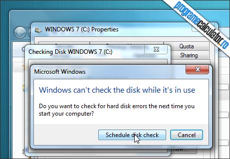 programarea verificarii erorilor hard disk-ului
