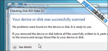 raport verificare erori hard disk