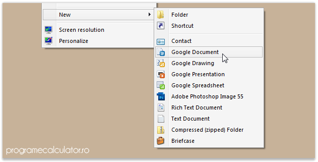 Google Docs integrat în meniul contextual