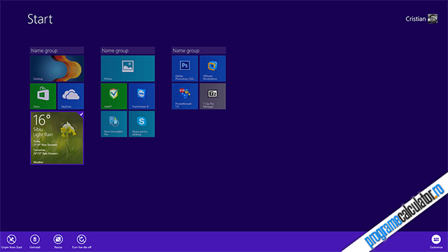 Ecranul Start al Windows 8.1 Preview