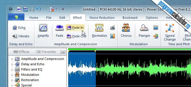 program de taiat melodii - Power Sound Editor - Fade In