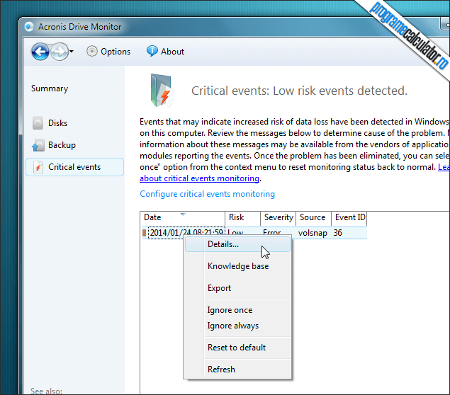 3-Acronis Drive Monitor-raport-erori