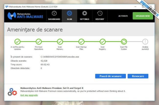 Malwarebytes Anti-Malware - Scanarea sistemului