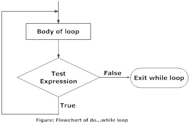 Flowchart of working of do...while loop in C programming.