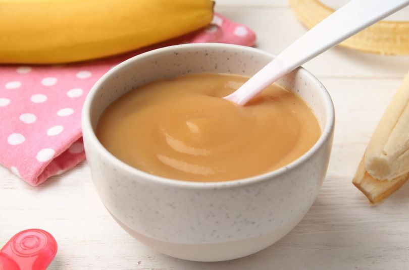 Compote bananes-oranges pour bébé dès 4/6 mois, avec pied mixeur