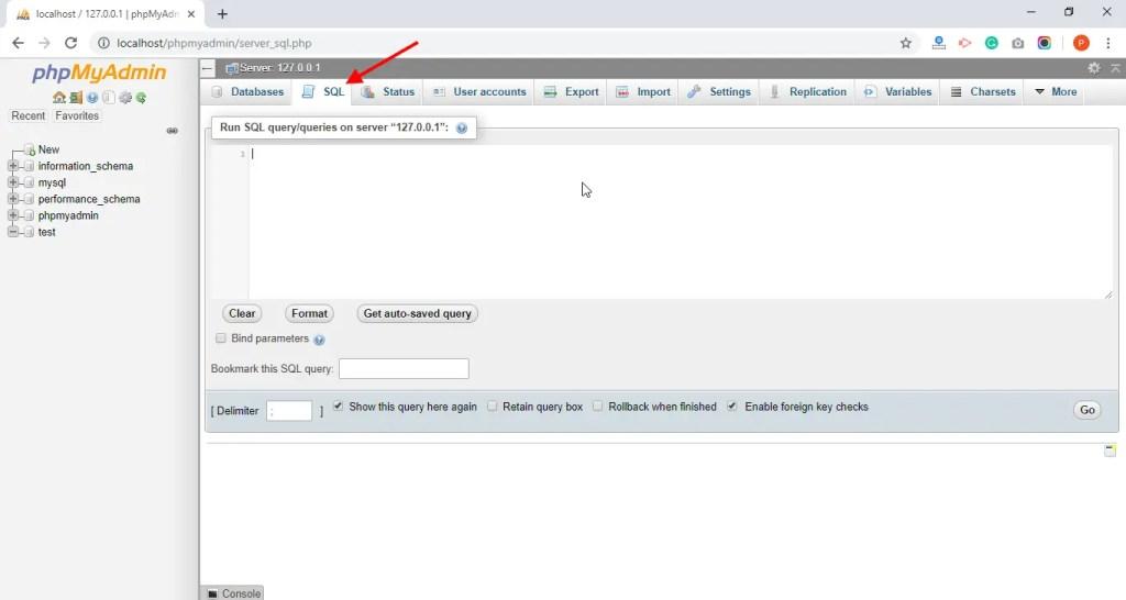 Database SQL tab