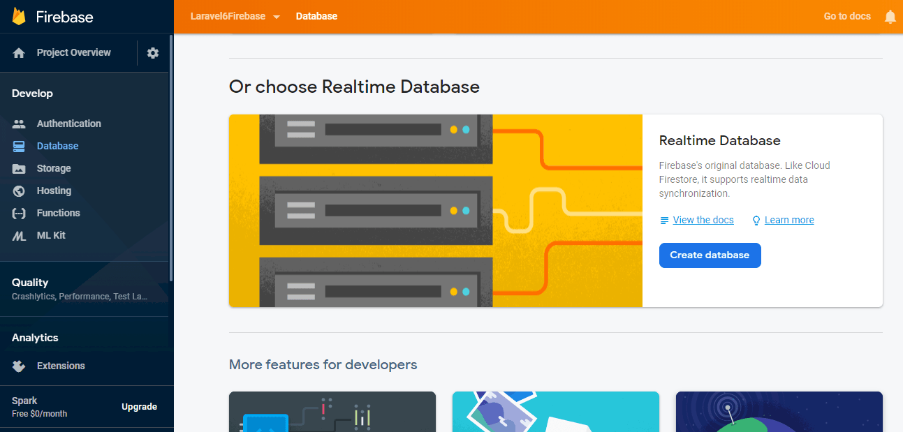Create Database in Firebase