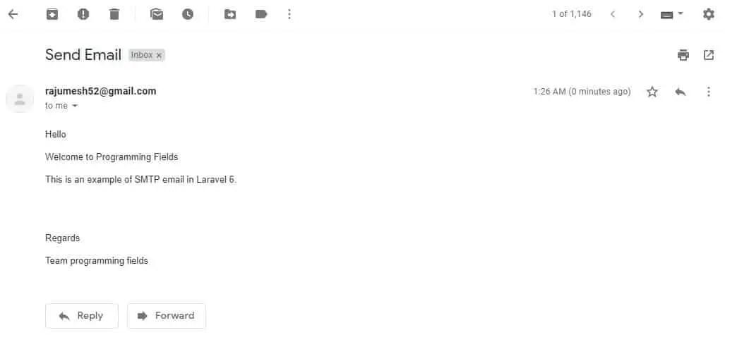 Laravel email sent