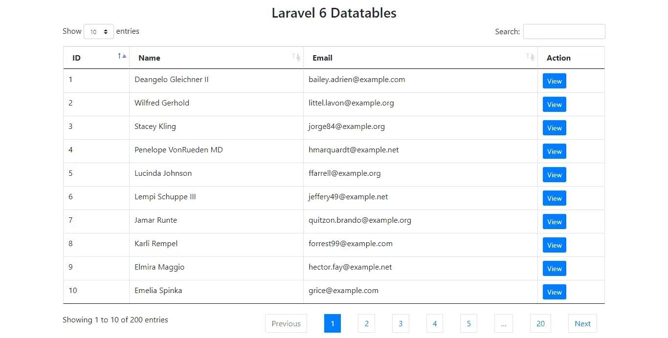 Datatable in Laravel 6