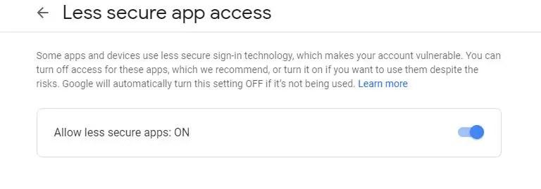 Allow less secure app
